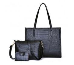 Жіноча чорна сумка + клатч набір 3в1