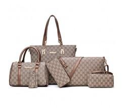 Набор сумок, клатч, кошелек, визитница 6 в 1 в стиле LV с коричневыми ручками
