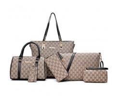 Набір сумок, клатч, гаманець, візитниця 6 в 1 в стилі LV з чорними ручками