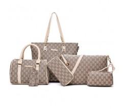 Набір сумок, клатч, гаманець, візитниця 6 в 1 в стилі LV з бежевими ручками