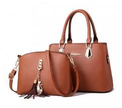 Женская сумка + мини сумочка клатч коричневая