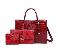 Лакированная сумка в наборе 3в1 красная