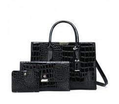 Лакированная сумка в наборе 3в1 черная