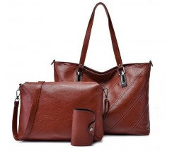 Жіноча сумка і невелика сумочка з візитницею в наборі коричнева