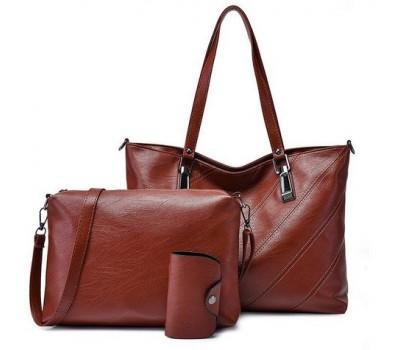 Женская сумка и небольшая сумочка с визитницей в наборе коричневая
