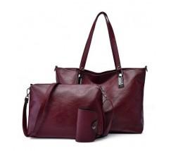 Женская сумка и небольшая сумочка с визитницей в наборе бордовая