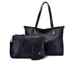 Жіноча сумка і невелика сумочка з візитницею в наборі чорна