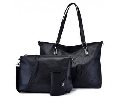 Женская сумка и небольшая сумочка с визитницей в наборе черная