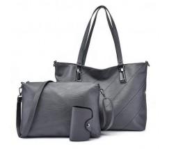 Жіноча сумка і невелика сумочка з візитницею в наборі сіра