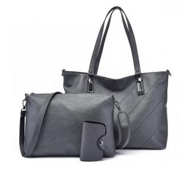 Женская сумка и небольшая сумочка с визитницей в наборе серая