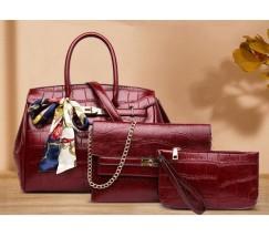 Набор сумок 3 в 1 под крокодила, бордовый