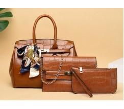 Набір сумок 3 в 1 під крокодила, коричневий