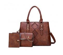Жіноча сумка в наборі 3 в 1 + міні сумочка + візитниця, коричнева