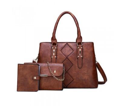 Женская сумка в наборе 3 в 1+мини сумочка+ визитница, коричневая