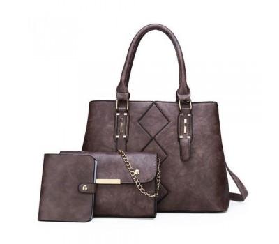 Женская сумка в наборе 3 в 1+мини сумочка+ визитница, бледно-фиолетовая