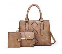 Жіноча сумка в наборі 3 в 1 + міні сумочка + візитниця, бежева