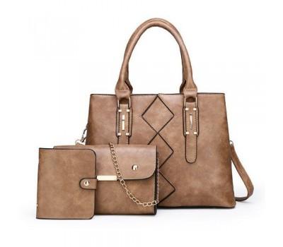 Женская сумка в наборе 3 в 1+мини сумочка+ визитница, бежевая