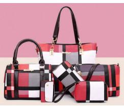 Набор сумок в клетку 6 в 1 красный