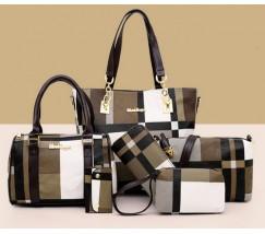 Набор сумок в клетку 6 в 1 коричневый