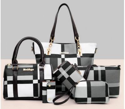 Набор сумок в клетку 6 в 1 серый