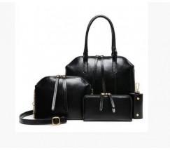 Женская сумка большая и маленькая, кошелек и ключница в наборе 4в1 черного цвета