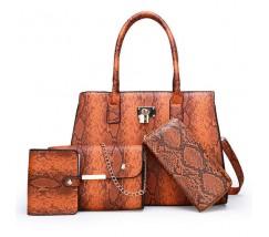 Набор сумок под кожу змеи 4 в 1 коричневый
