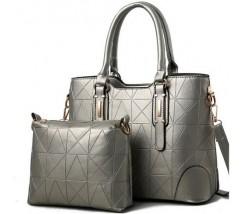 Набір сумка і клатч сріблястий