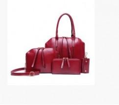 Женская сумка большая и маленькая, кошелек и ключница в наборе 4в1 бордового цвета