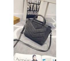 Женская сумка с ручками и ремешком серая