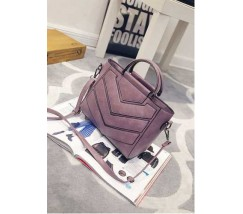 Женская сумка с ручками и ремешком фиолетовая