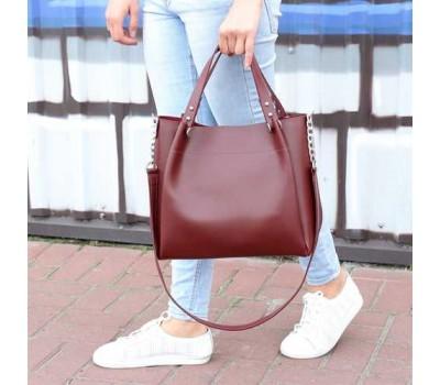 Стильная повседневная сумка на плечо бордовая
