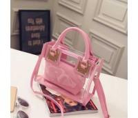 Прозора жіноча сумка + косметичка рожева