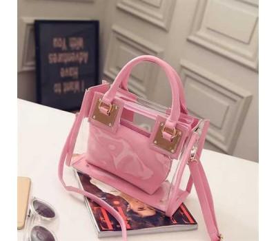 Прозрачная женская сумка+косметичка розовая