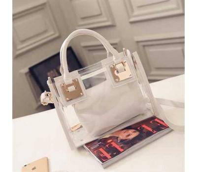 Прозрачная женская сумка+косметичка белая