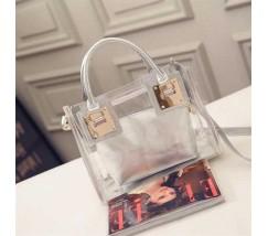 Прозрачная женская сумка+косметичка серая