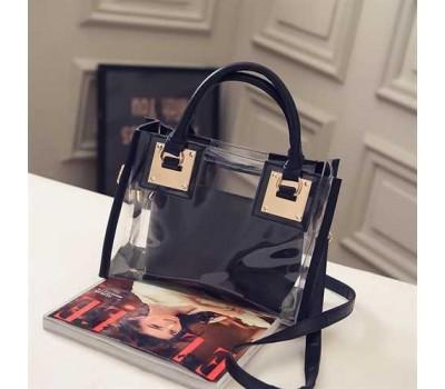 Прозрачная женская сумка+косметичка черная