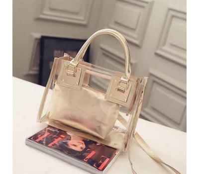 Прозрачная женская сумка+косметичка золото