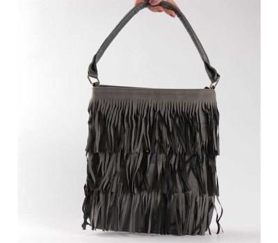 Стильная сумка с бахромой серая