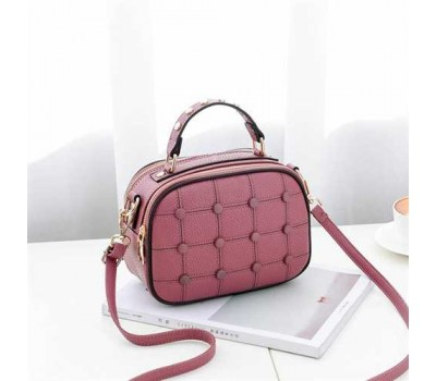 Модная женская сумочка с пуговицами темно-розовая