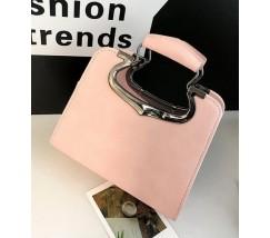 Женская сумка с фигурными ручками розовая
