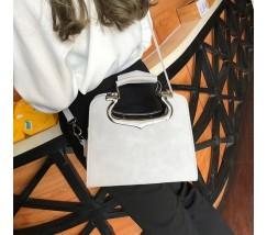 Женская сумка с фигурными ручками серая