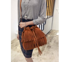 Женская сумка-хобо под замшу коричневая