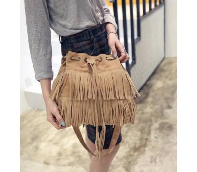 Женская сумка-хобо под замшу бежевая