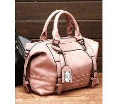 Вместительная сумка женская розовая