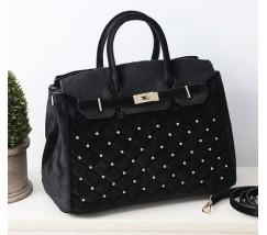 Бархатная женская сумка черная