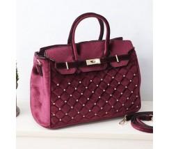 Оксамитова жіноча сумка бордова