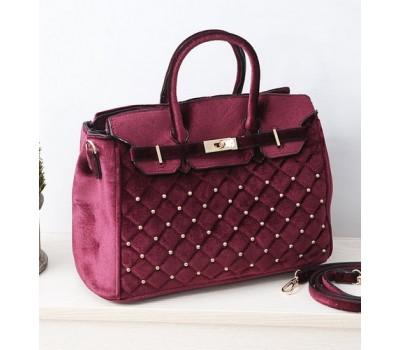 Бархатная женская сумка бордовая