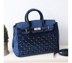 Бархатная женская сумка синяя