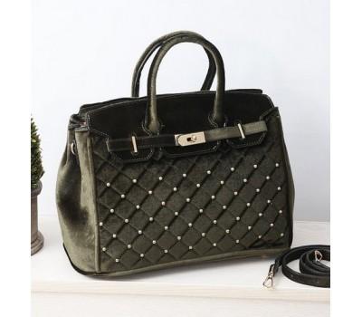 Бархатная женская сумка хаки