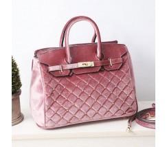Велюровая женская сумка розовая